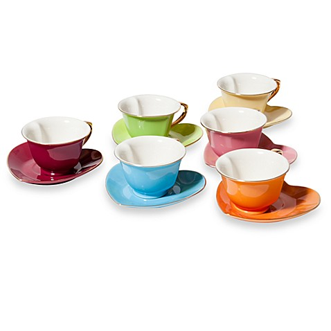 Classic Coffee & Tea Inside Out Heart Espresso Cups and Saucers in Platinum (Set of 6)