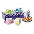 Classic Coffee & Tea White Dots Teacups and Saucers (Set of 6)