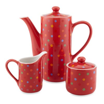Classic Coffee & Tea Polka Dot Teapot, Sugar and Creamer Set in Red