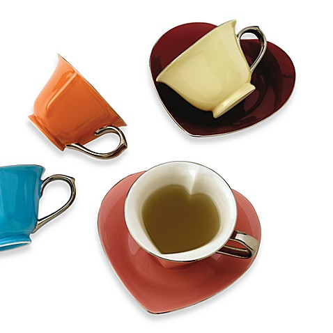 Classic Coffee & Tea Inside Out Heart Teacups and Saucers in Assorted Colors/Platinum (Set of 6)
