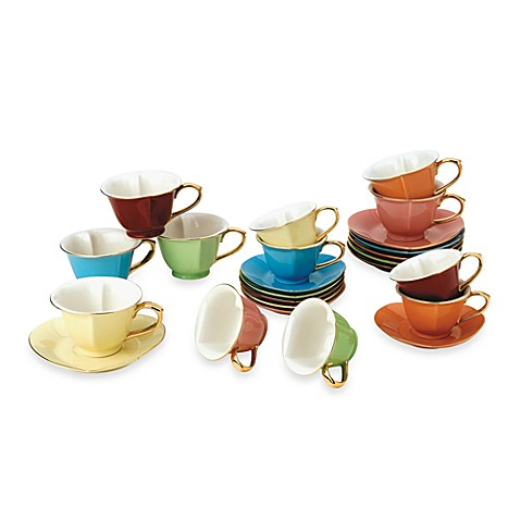 Classic Coffee & Tea Inside Out Heart Teacups and Saucers in Assorted Colors/Gold (Set of 6)