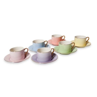 Classic Coffee & Tea Solid Teacup and Saucer in Assorted Pastels/Gold (Set of 6)