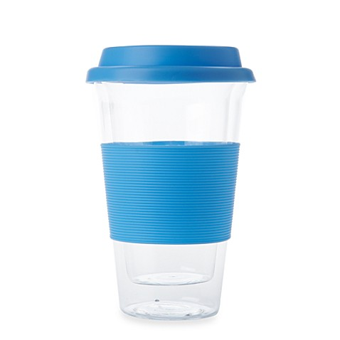 Classic Coffee & Tea Double Walled Glass 11-Ounce Travel Mug in Light Blue
