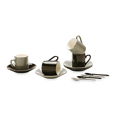 Classic Coffee & Tea Black, White & Grey Espresso Cups and Saucers with Spoons