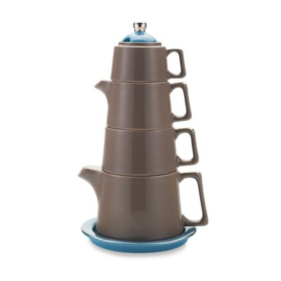 Classic Coffee & Tea Tower Tea Set in Brown/Teal