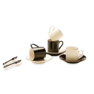 Classic Coffee & Tea Blackand White Espresso Cups and Saucers with Spoons.