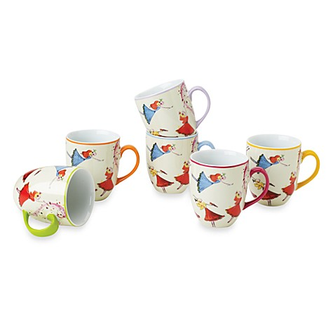 Classic Coffee & Tea Dancing Fairies 9-Ounce Mugs (Set of 6)