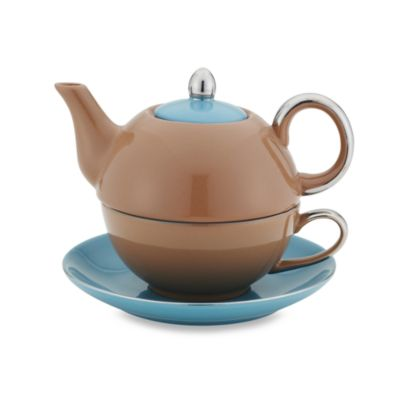 Classic Coffee & Tea Siena Tea for One with Saucer - Brown/Teal