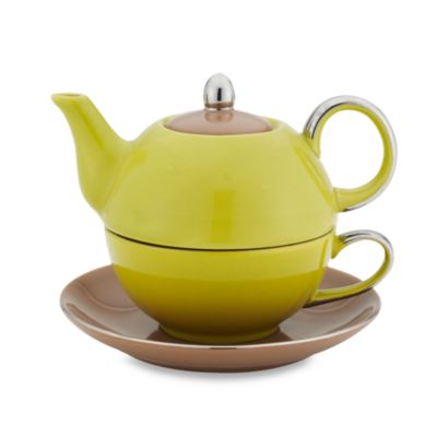 Classic Coffee & Tea Siena Tea for One with Saucer in Green/Brown
