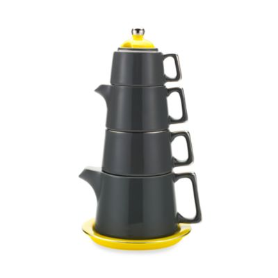 Classic Coffee & Tea Tower Tea Set in Dark Grey/Yellow