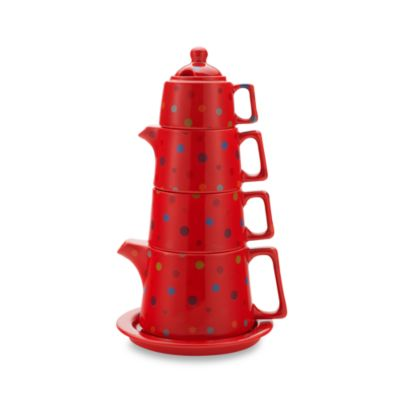 Classic Coffee & Tea Tower Tea Set in Red Polka Dot
