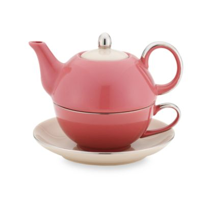 Classic Coffee & Tea Siena Tea for One with Saucer - Mauve/Mocca