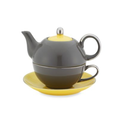 Classic Coffee & Tea Siena Tea for One with Saucer in Dark Grey/Yellow