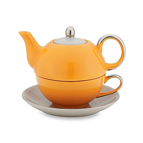 Classic Coffee & Tea Siena Tea for One with Saucer in Orange/Light Grey