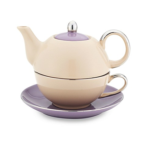Classic Coffee & Tea Siena Tea for One with Saucer in Beige/Purple