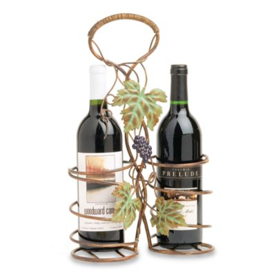 Autumn Concord 2-Bottle Metal Wine Basket