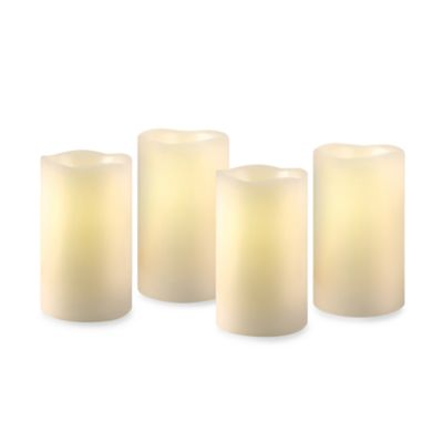 Loft Living Flameless LED Pillar Candles with Timer in Ivory (Set of 4)