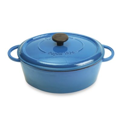 Fontignac Cast Iron Oval 8-Quart Casserole in Blue