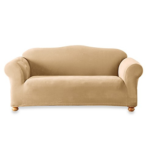 Sure Fit Stretch Sterling Cream Sofa Slipcover Bed Bath