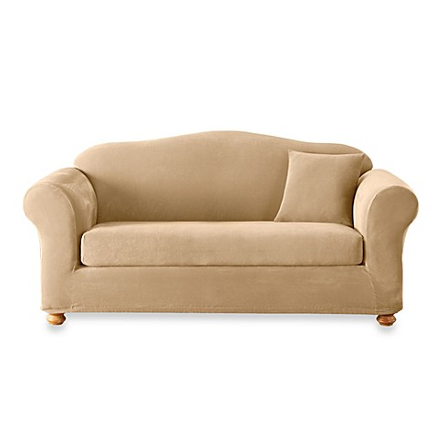 Sure Fit Stretch Sterling Cream 2 Piece Sofa Slipcover