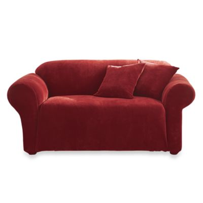 Sure Fit® Stretch Sterling Garnet Loveseat Slipcover in Garnet