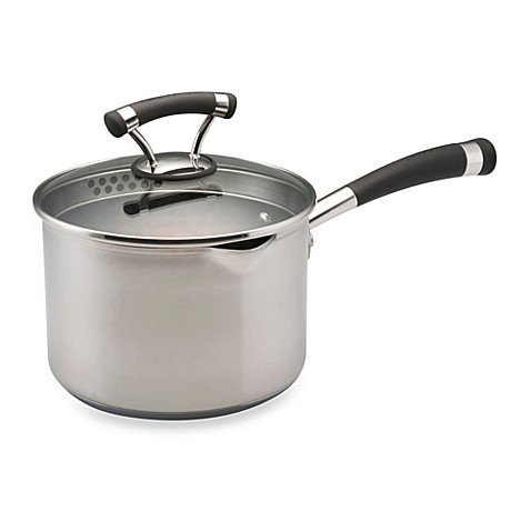 Circulon® Contempo™ Stainless Steel Non-Stick 3-Quart Covered Straining Saucepan
