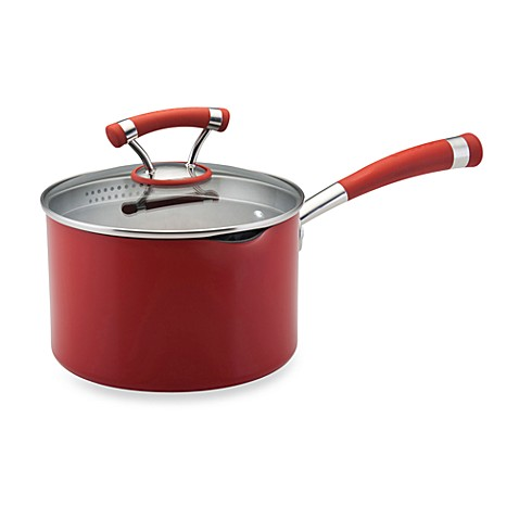 Circulon® Contempo™ Red Non-Stick 3-Quart Covered Straining Saucepan