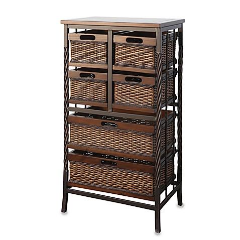 storage shelving with 6 basket drawers bed bath beyond. Black Bedroom Furniture Sets. Home Design Ideas