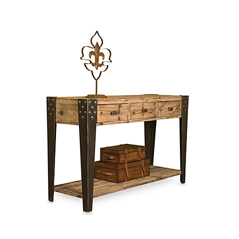 Wood Entry Table with Three Drawers