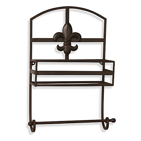 Fleur De Lis Metal Wall Shelf Towel Bar Bed Bath Beyond