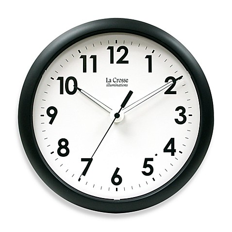 La Crosse Technology 10-Inch Analog Black Wall Clock with Illuminated Hands