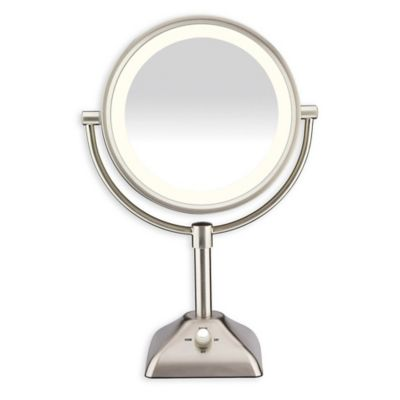 Variable Lighted 10X/1X Mirror in Satin Nickel