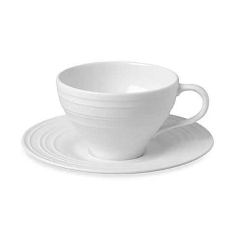 Mikasa® Swirl Teacup and Saucer in White