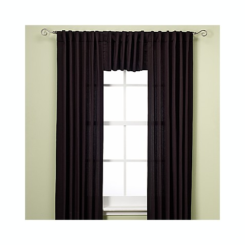 Henley Rod Pocket/Back Tab 95-Inch Window Curtain Panel in Black