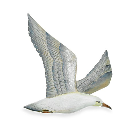 Right-facing Hand Carved Flying Seagull