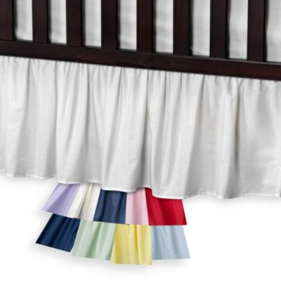 T. L. Care Cotton Percale Crib Bed Skirt in Blue