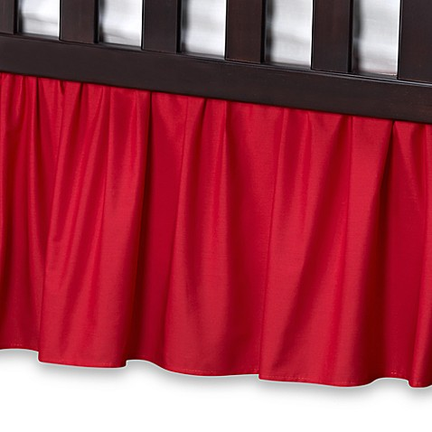 T. L. Care Cotton Percale Crib Bed Skirt in Red
