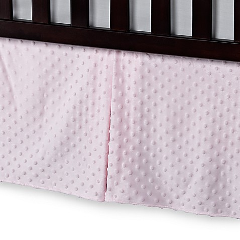 T. L. Care Heavenly Soft Minky Dot Crib Skirt in Pink