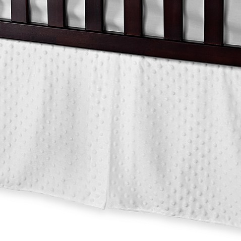 T. L. Care Heavenly Soft Minky Dot Crib Skirt in White