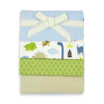 Adorable Dino Flannel Blankets 4-Pack by Jill McDonald