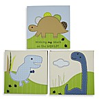 Adorable Dino 3-Piece Wood Framed Wall Art Set by Jill McDonald