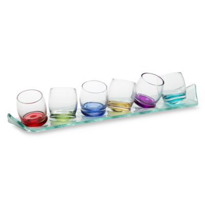 Circleware Moondance 2-Ounce Shot Glass Set with 14-Inch Glass Tray