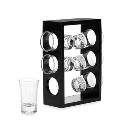 Circleware Urban 2-Ounce Shot Glass Set with Wooden Stand