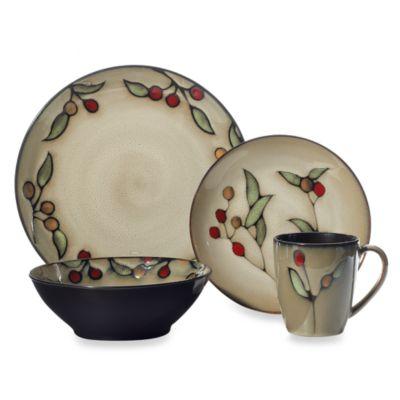 Cream Green Dinnerware Set
