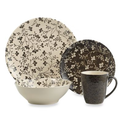 Sango Fresh Flowers Black 16-Piece Dinnerware Set
