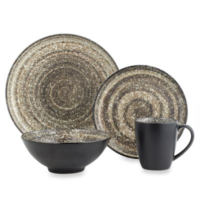 Sango Soho Black 16-Piece Dinnerware Set