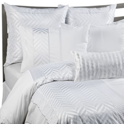 KAS® White Herringbone Duvet Cover Set