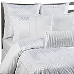 KAS® White Herringbone Duvet Cover Set, 100% Cotton