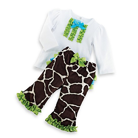 Mud Pie® Giraffe Size 0-6M 2-Piece Pants Set