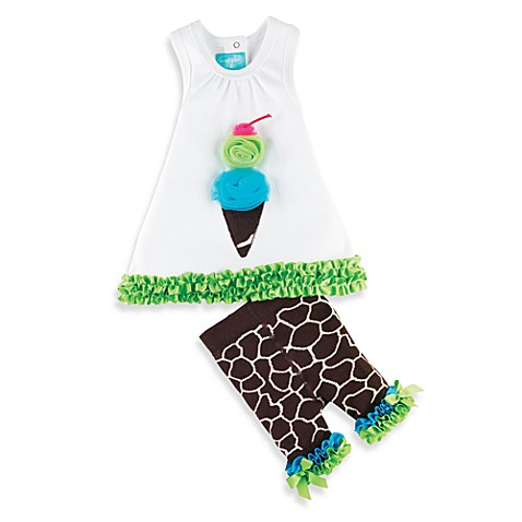Mud Pie™ Giraffe Size 12 - 18 Months Tunic and Tights Set